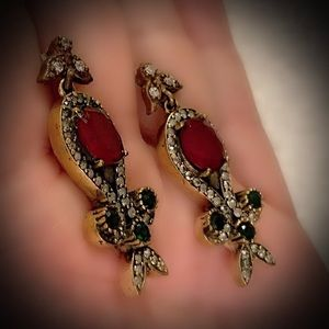 Love Adorned Ruby Solid Sterling Silver Earrings